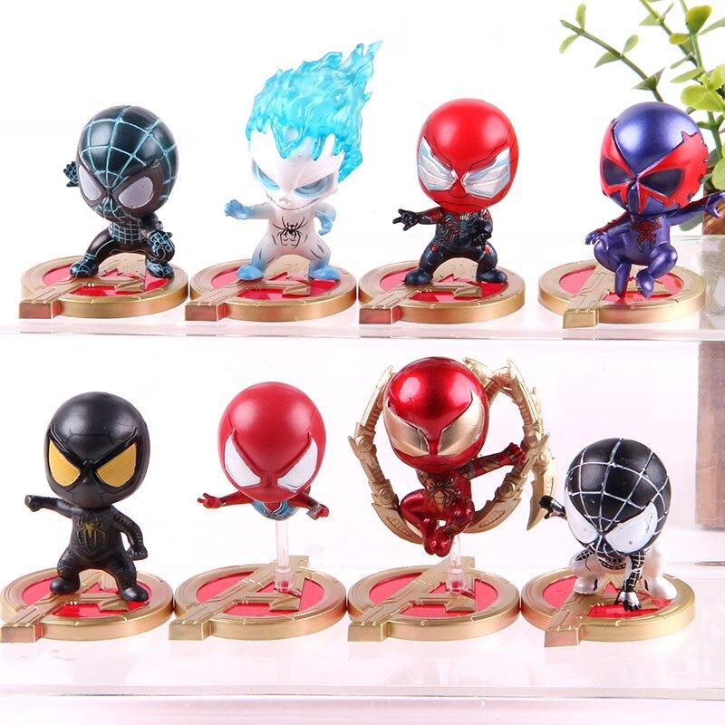 Marvel Avengers figura de Spiderman Iron Spiderman figura de acción Cosbaby Marvel coleccionable modelo de juguete 8 unids/set