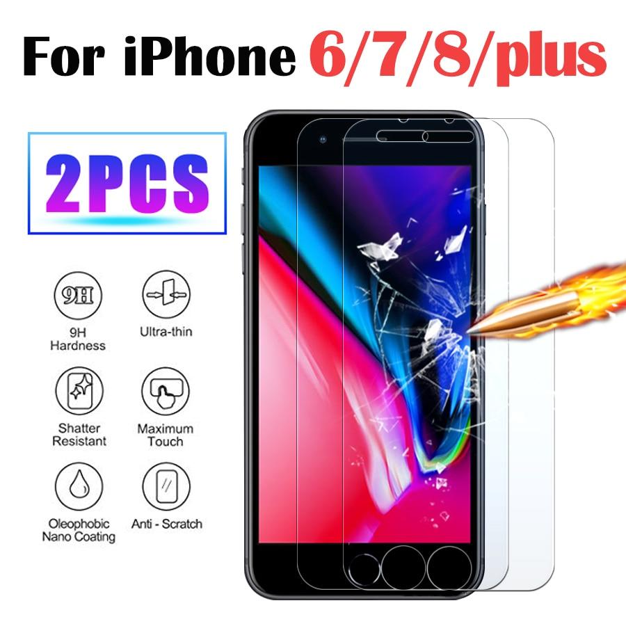 2pack de vidrio protector para apple iphone 6 plus película de vidrio templado aphone iphen aifon tremp 6 s 7 8 s6 pantalla protector de ihon s