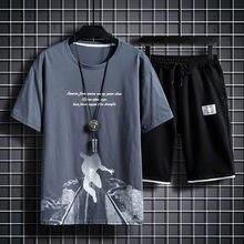 Short de Sport à manches courtes pour hommes costume décontracté T-shirt dété impression costume deux pièces Sport entraînement respirant costume ample