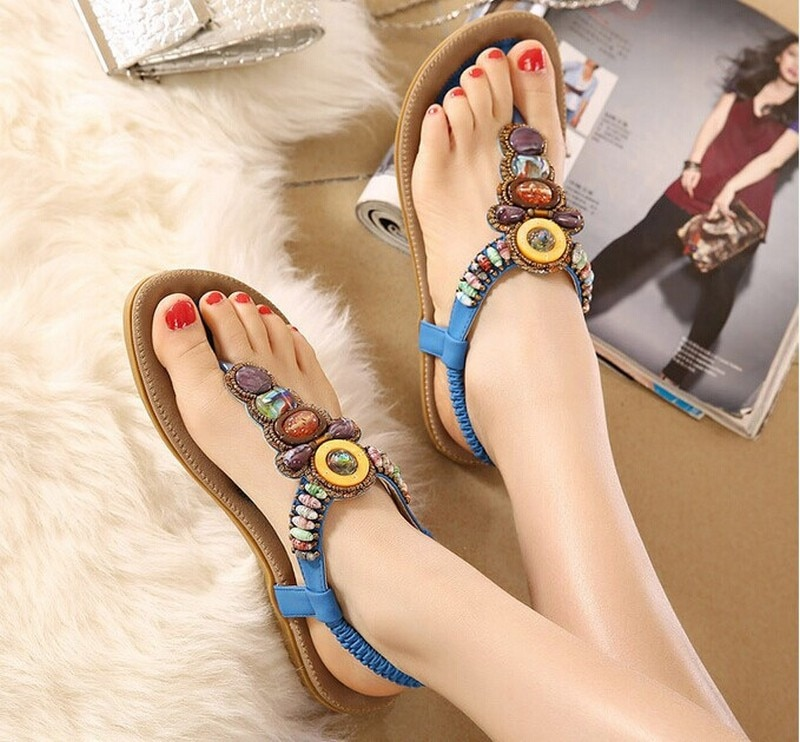 Sandalias planas de verano para Mujer, chanclas bohemias para la playa, Zapatos...