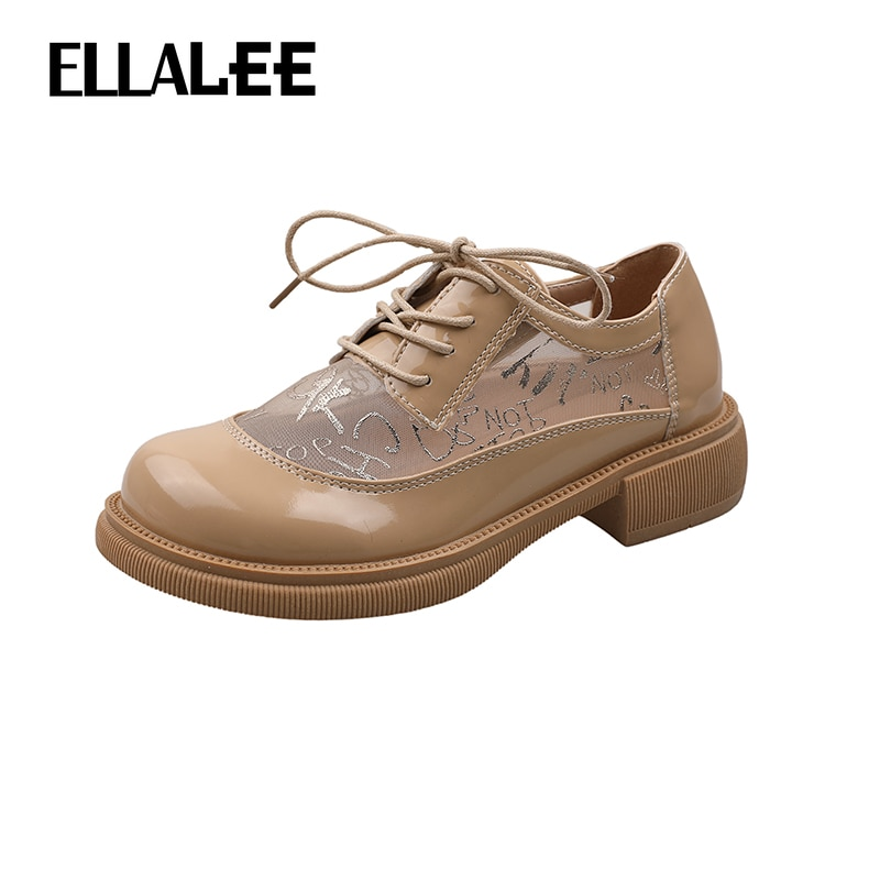ELLALEE Summer Women's Shoes Mesh Brand Breatnable Cool Lace-Up Office Lady Loafers Round Toe Fashion Slip-On Female Flats