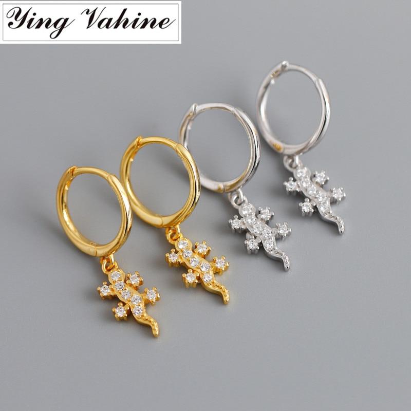 Ying vahine 100% 925 sterling silver animal pequeno gecko pingente brincos para mulher