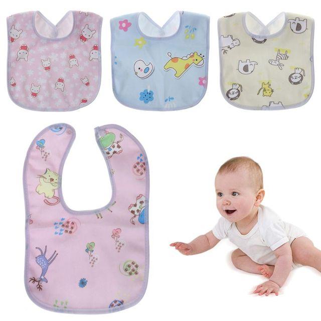 1PC Baby Bib Waterproof Cartoon Cute Buckle Bandana Burp Saliva Towel Boys Girls Feeding Apron Bib Infant Children Supplies 2