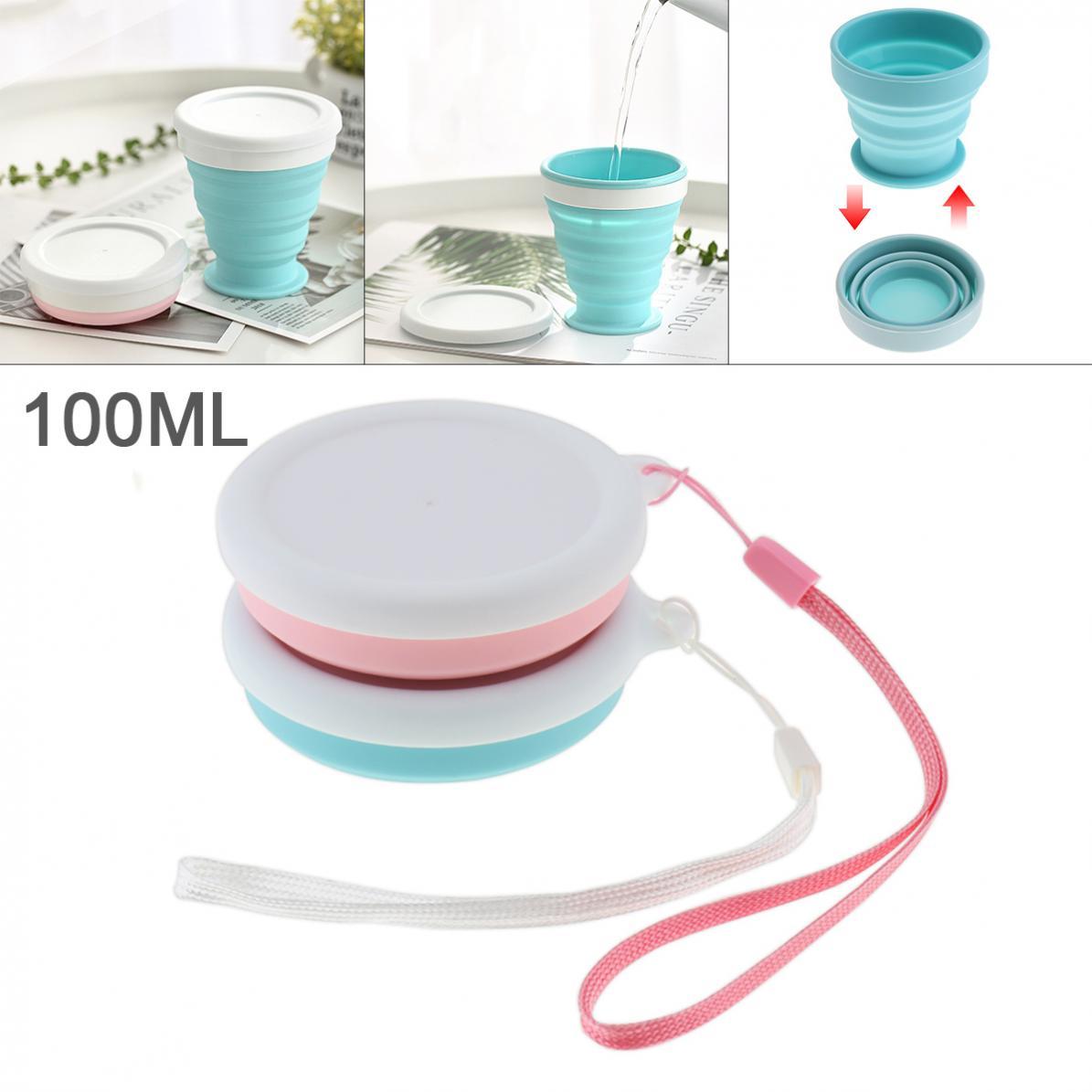 Taza plegable de silicona Circular escalable portátil de 2 colores de 100ML con sujeción para-50 grados centígrados ~ 200 grados centígrados