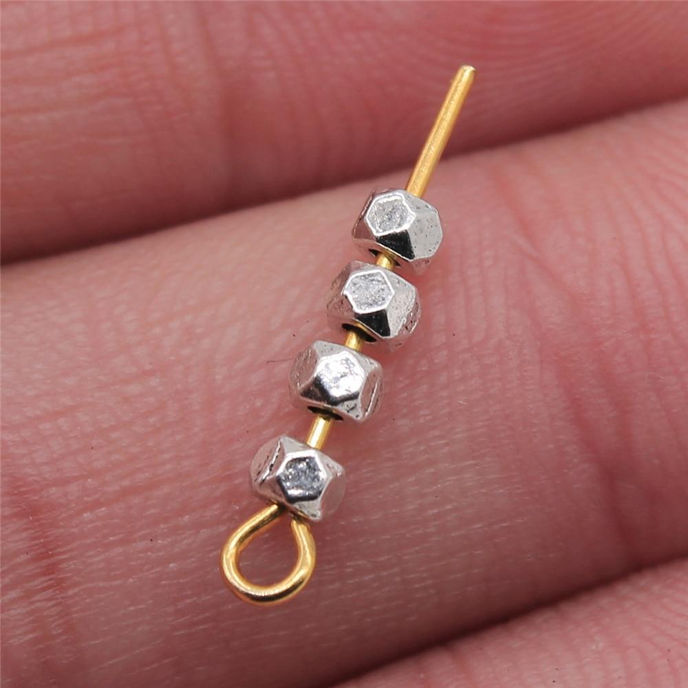 200 pces espaçador contas diy liga de metal jóias descobertas antigo prata cor 3x3mm