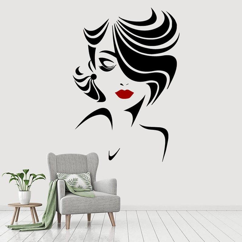 Salón de belleza moda para chicas pegatina de pared vinilo mujer cara labios maquillaje ventana calcomanías Interior decoración del hogar tienda papel pintado A611