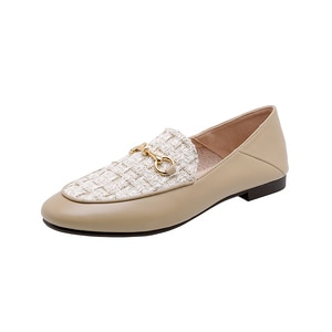Flats Loafers Fashion 2020 Apricot Black Casual Sweet Shoes Women Size35-40 Spring Summer Ladies Shoes Chaussure Femme Zapatos