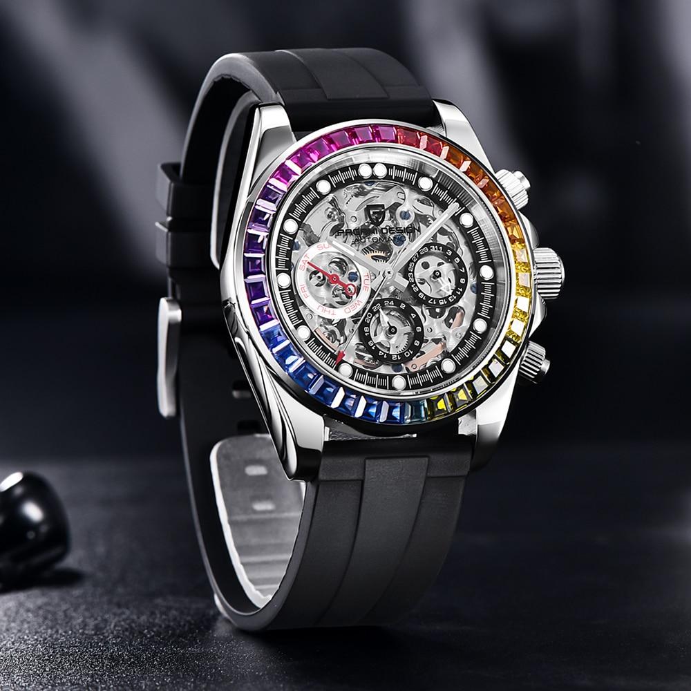 2021 جديد PAGANI تصميم رجل الهيكل العظمي ساعات آلية قوس قزح دائرة فاخرة التلقائي ساعة للرجال غواص ساعة معصم الياقوت
