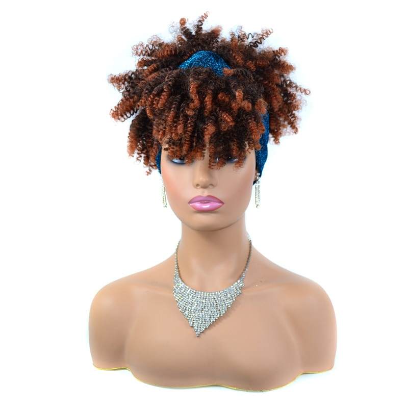 Afro Kinky Curly Headband Wigs Short Jerry Curly Headwrap Wigs for Black Women Heat Resistant Cosplay Synthetic Wigs with Scarf