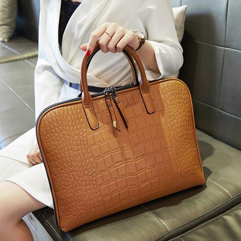 حقيبة كمبيوتر محمول على الكتف من الجلد للنساء موضة 15.6 16 حقيبة مضادة للماء 13.3 14 15 حقيبة يد شاومي ماك بوك اير 13