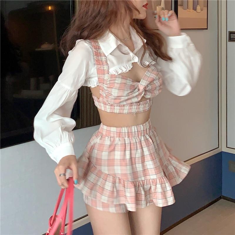 طقم لوليتا على الطريقة اليابانية ، أزياء كورية ، مثير ، للإجازات ، للفتيات ، تنورة قصيرة عالية الخصر ، قميص منقوش بكشكشة