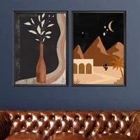 vase flower night landscape modern minimalist artwork room art prints set of 2 print typography painting no frame pictures