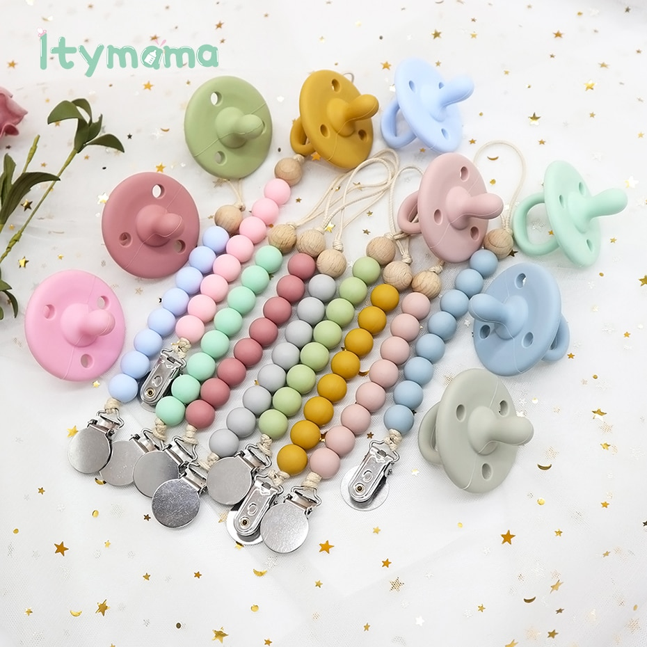 3PC Baby Silicone Pacifier Set Infant Soother Solid Cases Nipple Clips Dummy Teething Toys Nursing Accessories