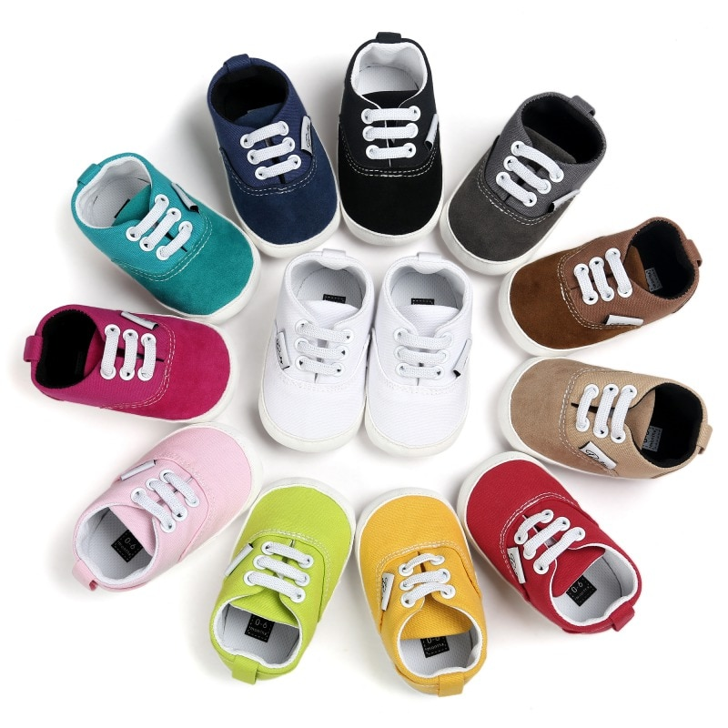 Canvas Baby Sports Sneakers Shoes Newborn Baby Boys Girls First Walkers Shoes Infant Toddler Soft Sole Anti-slip Baby Shoes
