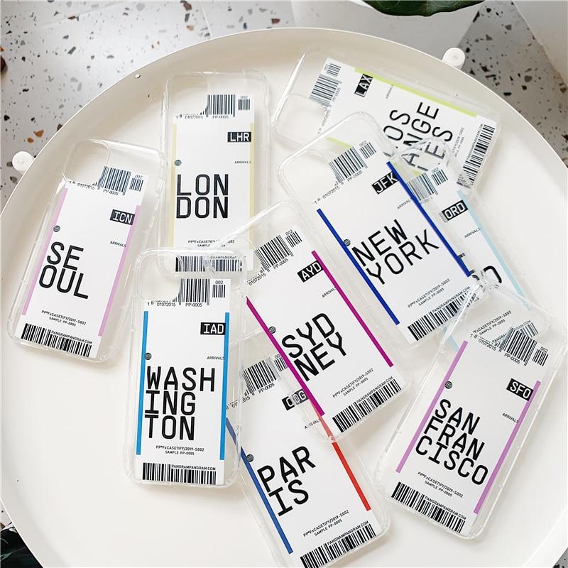 Горячая этикетка штрих-код США Город чехол для телефона для samsung Galaxy S10 plus S9 S8 Note 10 9 8 INS письмо Нью-Йорк прозрачный мягкий кремний чехол
