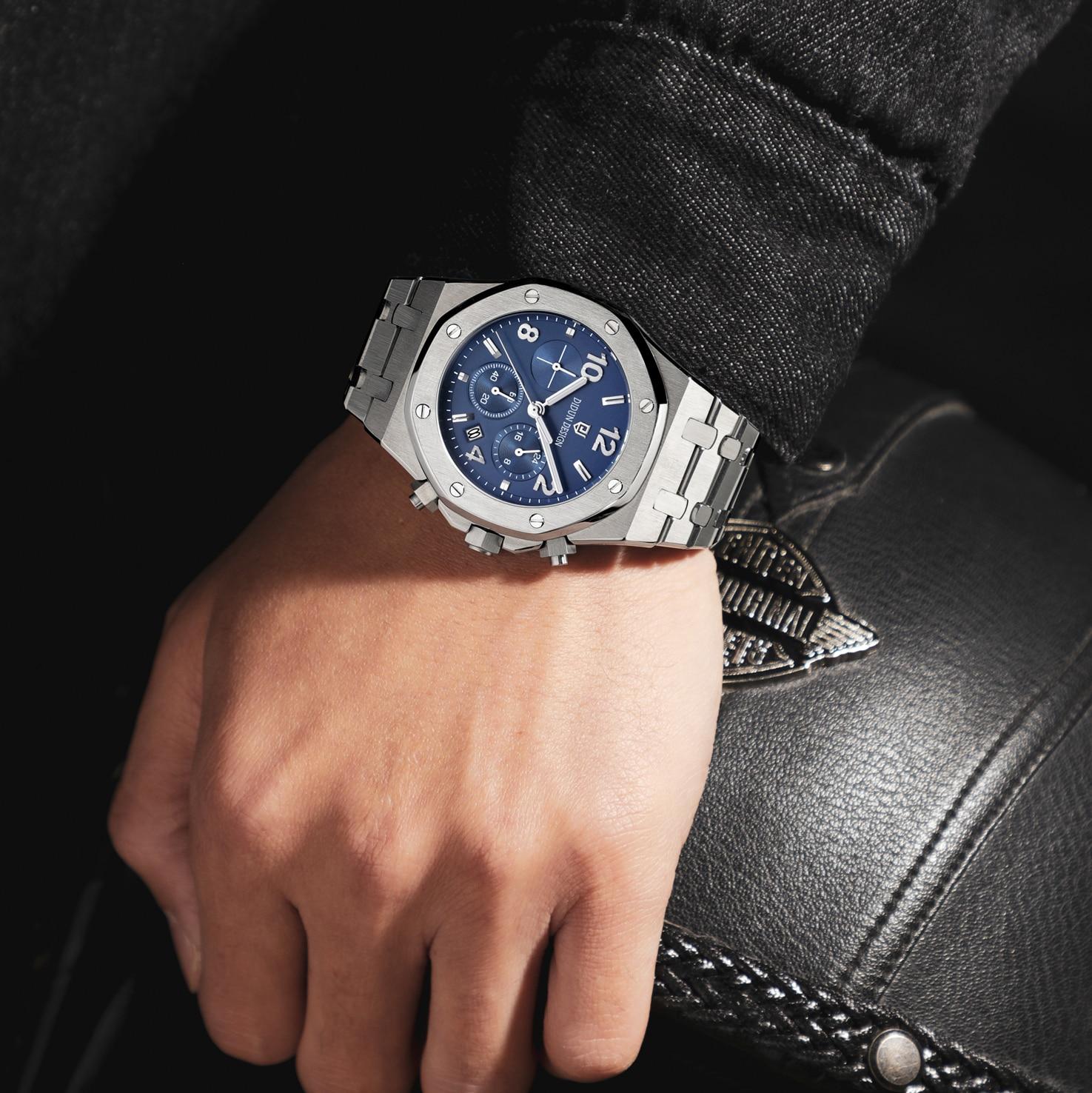 DIDUN watch men luxury steel quartz watch men business chronograph watch sports Wristwatches 30M waterproof enlarge