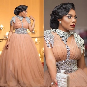 Luxury African Evening Dresses Beaded Crystal Plus Size Gowns Tulle A Line Long Formal Prom 2020 Robe De Soiree