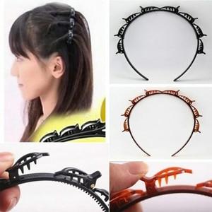 Brown Double Layer Bands Clip Hairbands Fashion Plastic Braided Headband New Knitting Women Girls Headwear Hair Accessories