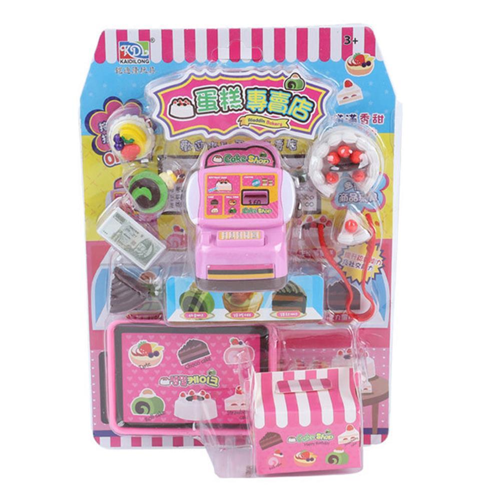 Kit de caja de la tienda de la torta miniatura de los niños juguetes de simulación de juego de casa de muñecas de juguete educativo accesorio