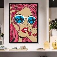 Affiche imprimee sur toile avec lunettes pour fille  dessin anime  decoration de maison  peintures murales  images modulaires de salon