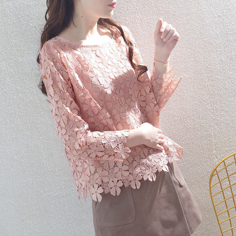 Womens Spring Autumn Style Lace Blouses Shirt Hollow Out Solid Color O-Neck Long Sleeve Elegant Tops