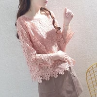 womens spring autumn style lace blouses shirt hollow out solid color o neck long sleeve elegant lace tops