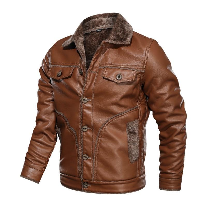 الرجال الشتاء زائد الصوف سترة جلدية Vintage الذكور رشاقته الدافئة سترة واقية معطف جلد بولي PU دراجة نارية جاكيتات حجم كبير M-8XL