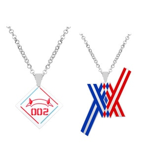 Anime Darling in the Franxx Zero Code 002 Necklace Pendant Cosplay Jewelry Necklaces Metal Accessories Costume Prop Xmas Gift