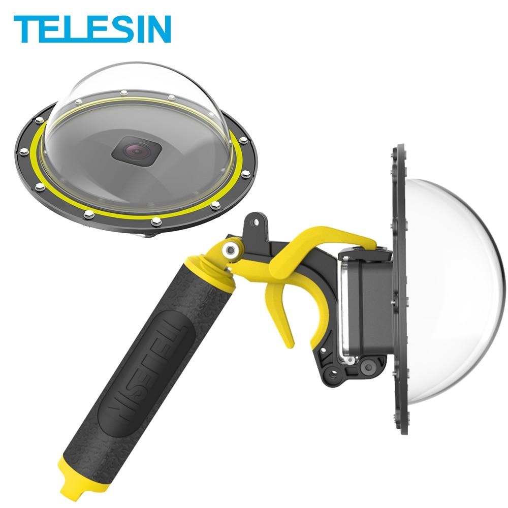 TELESIN-قبة كاميرا GoPro Hero 8 ، غطاء غوص مقاوم للماء حتى 30 مترًا ، 6 بوصات ، مقبض عائم ، مشغل ، ملحقات الكاميرا