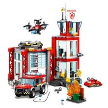 Новый город серии игрушки Кирпичи пожарная станция Совместимость lepining город 60215 строительные блоки фигурка для детей Рождественский подарок