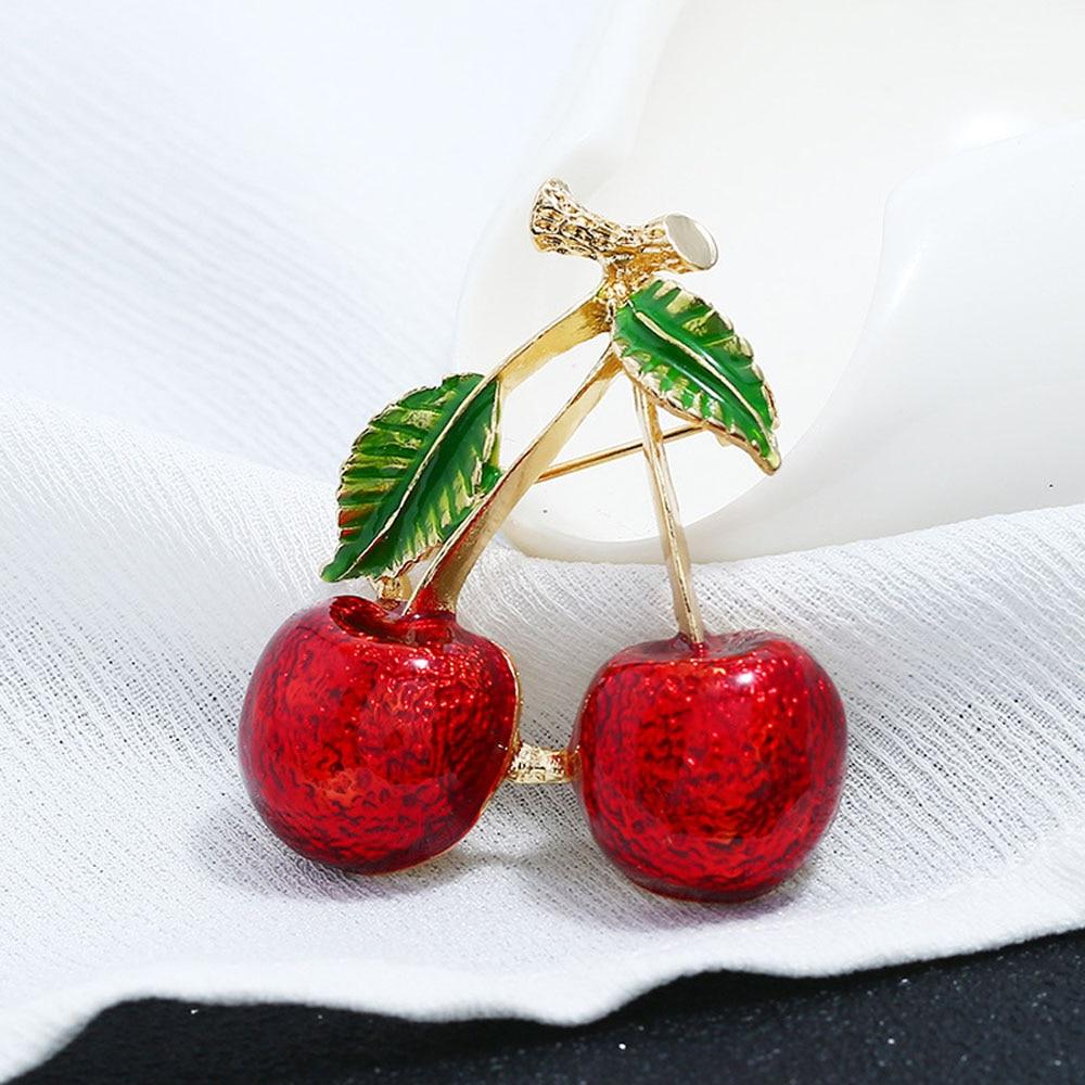 Broche 2 colores rojo cereza crouches para mujer fruta broche Pin escote Pin chal con hebilla joyería nueva llegada buen regalo