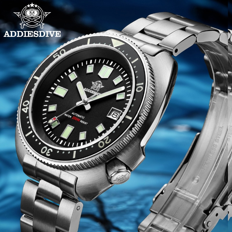 1970 Abalone Dive Watch 200m Sapphire crystal calendar NH35 Automatic Mechanical Steel diving Men's