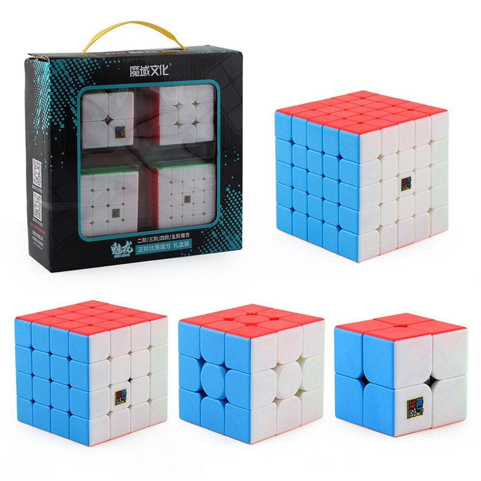 4pcs Speed Cube Set Moyu MofangJiaoshi 2x2 3x3 4x4 5x5 Meilong Magic Cube pyramid skew Megaminx SQ1 Packing Educational Toys