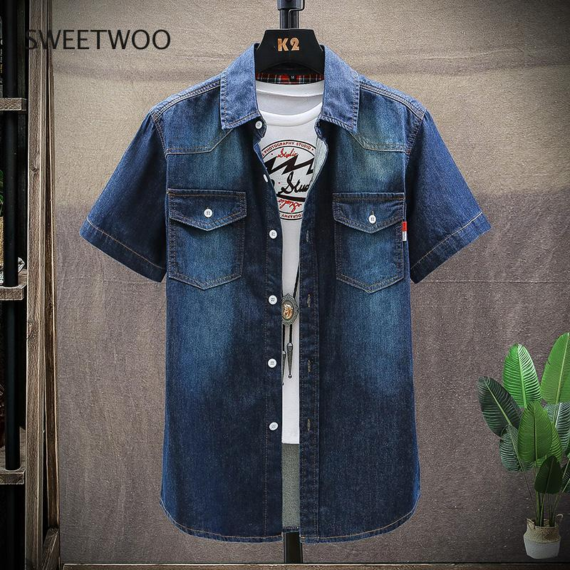 Men Spring Summer Denim Thin Shirt Short Sleeve Soft Cotton Two Pockets Slim Slight Elastic Jeans Cowboy Shirt Clothing