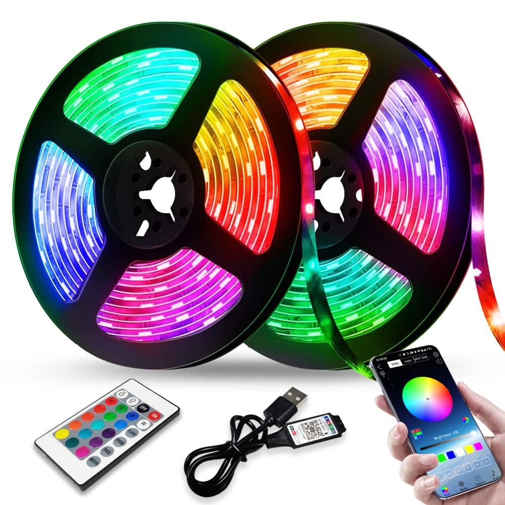 LED Strip Lights RGB 2835 Bluetooth Control USB Flexible Lamp 5V Tape Ribbon Diode For Festival Room Luces Computer TV Desk Luz