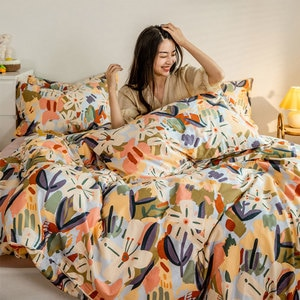Colorful pastoral flower bedding set girl,cotton twin full queen King cute double home textile bed sheet pillow case duvet cover