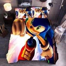 Ensemble de literie 3D Sonic Anima   Housse de couette Super Mario Sonic, ensemble housse pour enfants, taie doreiller, linge de lit Textiles de maison, taille AU/u/américaine