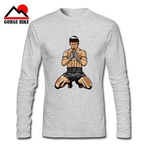 Muay Thai Fighter T Shirt Thailand Boxer Long Sleeve Custom Death Destiny Clothes Cosplay Oneck Cotton XXXL Thai boxing T Shirts