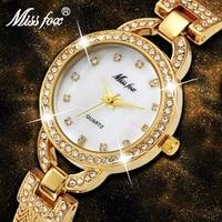 missfox woman small watch cute pearl shell c luxury women gold watches fashion steel mesh rhinestone sweet style quartz watch