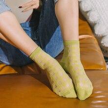 Summer Women Socks Fashion Streetwear Transparent Mesh Sheer Silk Socks Female Thin Ankle Plaid Socks Black Gray Green Blue