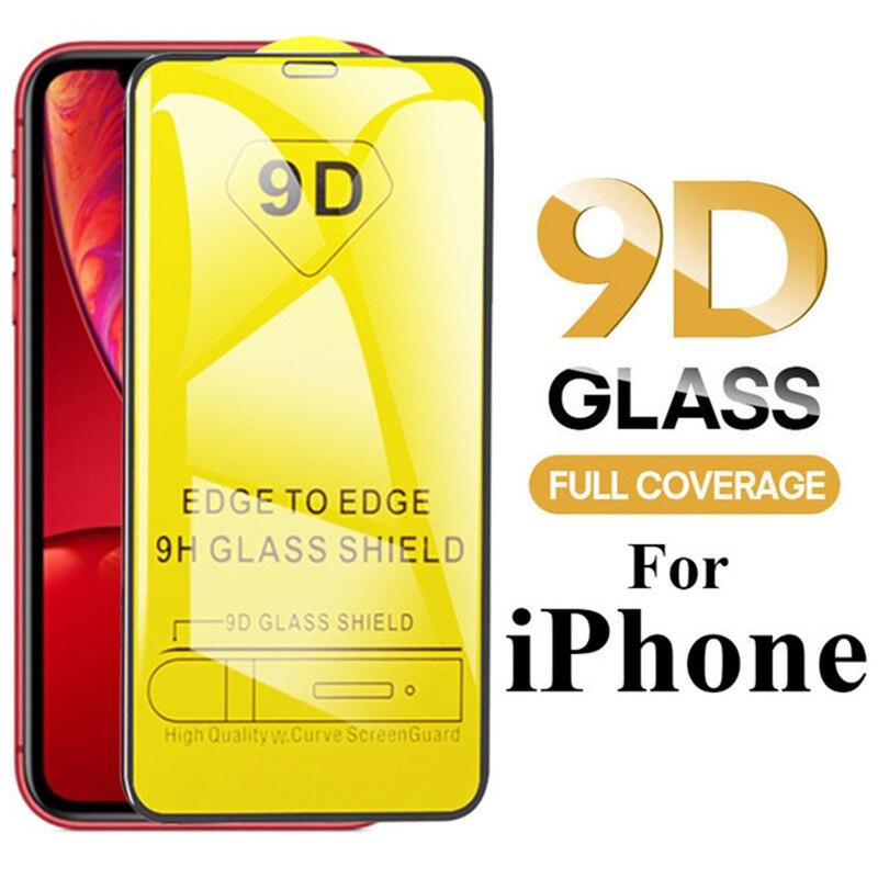 Funda completa de vidrio 9D para iPhone, protector de pantalla de vidrio...