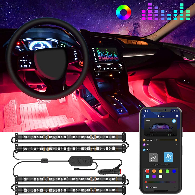 Interior Car Lights, LED Car Strip Lights with Two-Line Waterproof Design, 48 LEDs App Control Car Light Kit, DIY Mode and