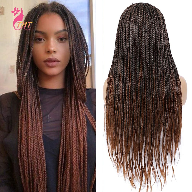 Synthetic Long Braided Wigs For Women 26'' Good Cheap Ombre Long Straight Box Braided Wigs Crochet Braiding Wigs