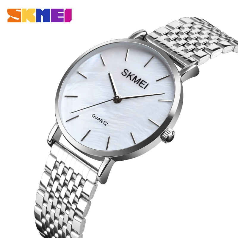 SKMEI Women Watches Simple Style Elegant Quartz Watch 3Bar Waterproof Shell Dial Stainless Steel Strap Relogio Feminino Relojes enlarge
