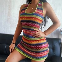 y2k sleeveless summer dresses for women bohemian knitted halter backless wave mini sexy color mini dress for girl 2021