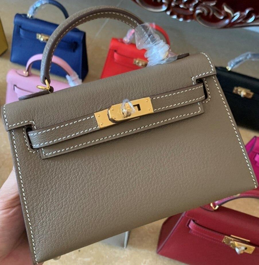 Bolsa de Luxo Totalmente Artesanal Marca Mini Bolsa 19.5cm Etaupe Design Cherves Couro Entrega Rápida