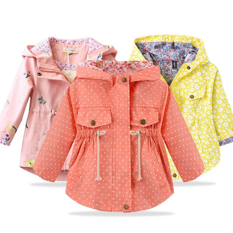 Spring Autumn Girls Casual Jackets Hooded Outerwear Fashion Printing Flower Windbreaker Children Clo
