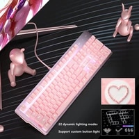 new girly pink gaming mechanical wired keyboard 104 key usb interface white backlight is suitable for gamers pc laptops