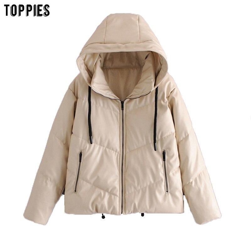 Toppies-سترة شتوية من الجلد الصناعي للنساء ، معطف فقاعي ، ملابس دافئة وسميكة ، 2020