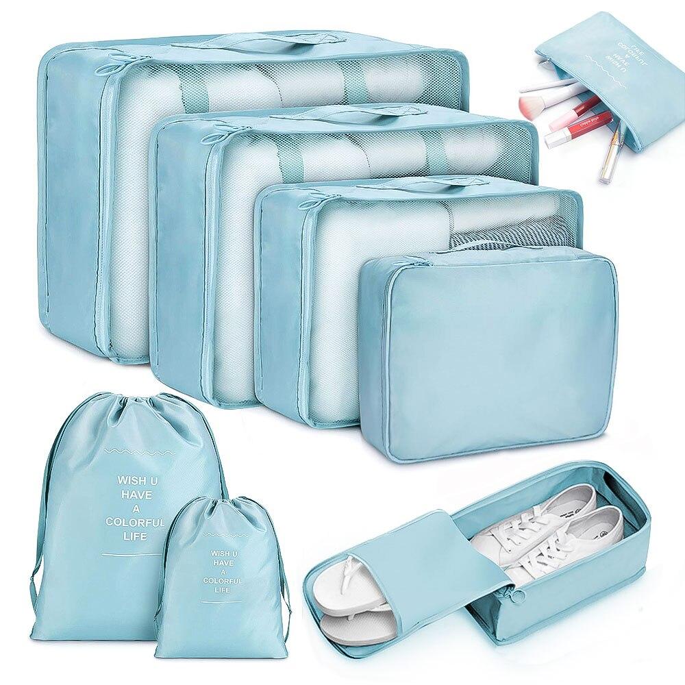 6/8 Uds bolsas de viaje impermeables, organizador de ropa, equipaje, colcha, bolsa de almacenamiento, bolsa para maleta, bolsas de cubos de hielo